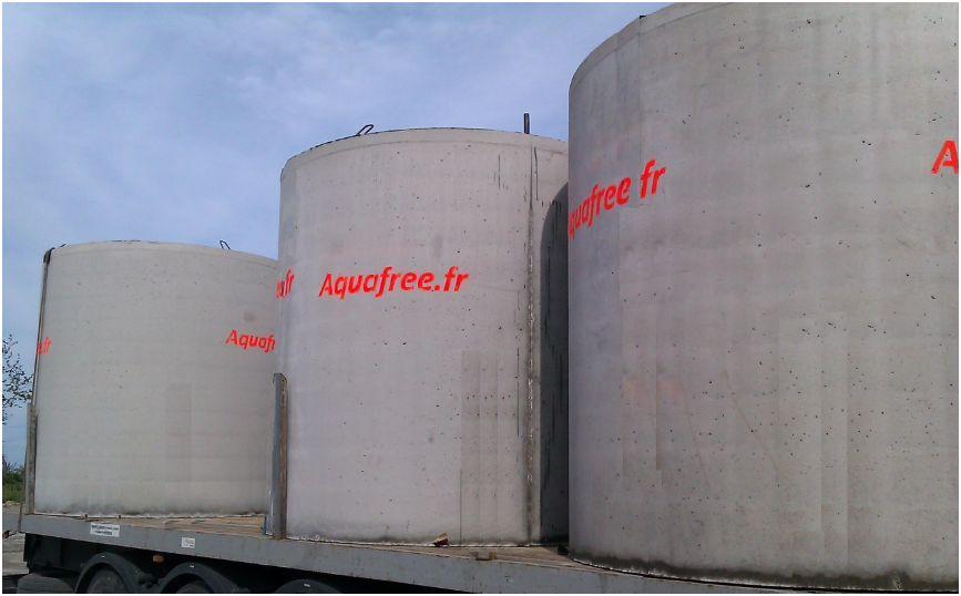 Cuves de 10.000 litres en béton pour la récupération d'eau de pluie
